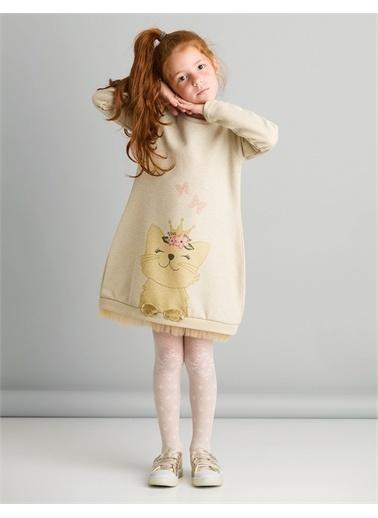 Mushi Cat Dream Elbise Ekru